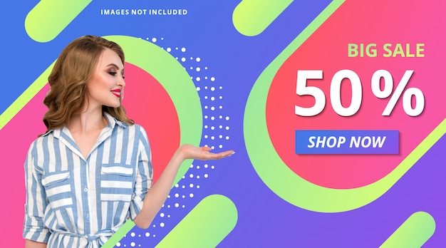 Fashion promotion store banner gradient modern background template