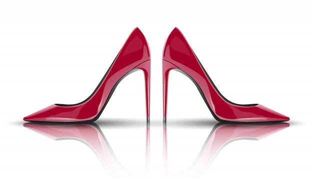 Fashion red woman high heels. isolated