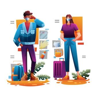 Мода безопасное путешествие установить мужчина и женщина
