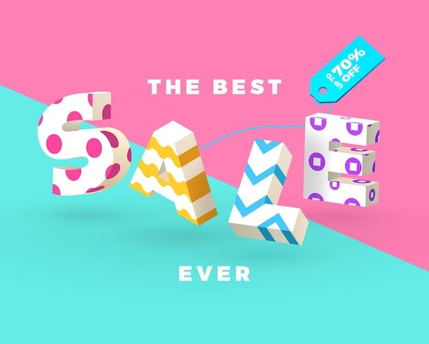 Fashion sale banner, 3d letters, vector illustration