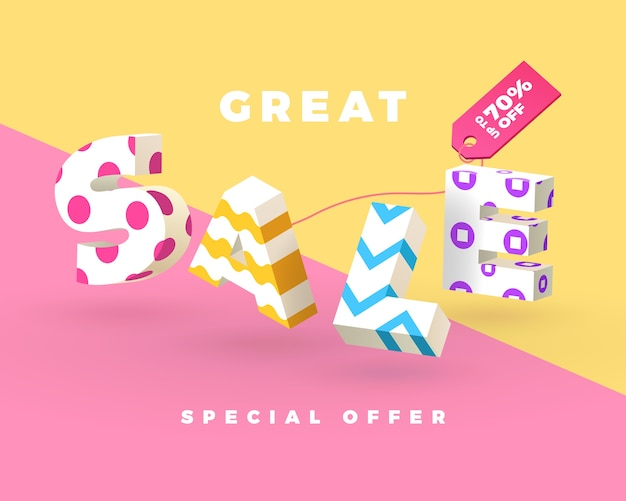 Fashion sale banner, 3d letters with pattern