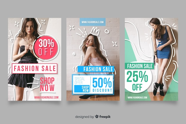 Fashion sale banner collection