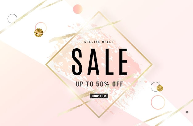 Fashion sale banner design with gold frame, watercolor rose pink brush, special offer text, geometric elements.
