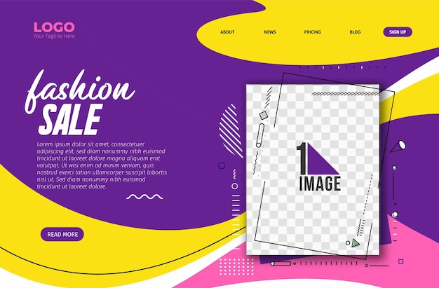 あなたの写真のスペースを持つファッションセールバナーデザイン。ベクトルイラスト。