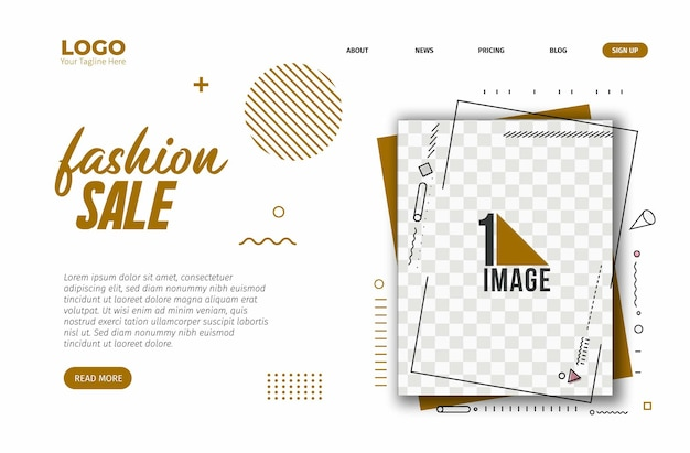 Fashion sale banner design with space of your photo. vector illustration.