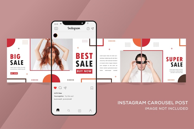 Fashion sale banner geometric for instagram carousel templates