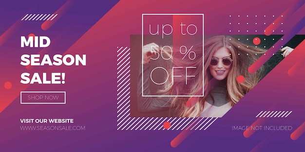 Fashion sale banner modern promotional with abstract background