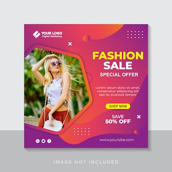 소셜 미디어 게시물 템플릿에 대한 패션 판매 배너 또는 정사각형 전단지