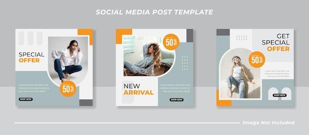 소셜 미디어 게시물 템플릿을 위한 패션 판매 배너 또는 정사각형 전단지