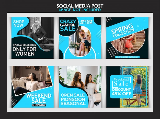 Fashion sale banner set for social media post