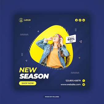 Fashion sale banner for social media facebook cover and web advertising premium vector