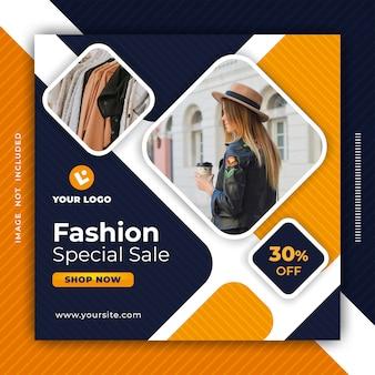 Fashion sale banner social media post design template.