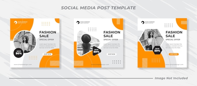 Fashion sale banner or square flyer for social media post template set