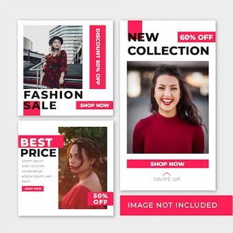 Fashion sale banner square template and story for instagram