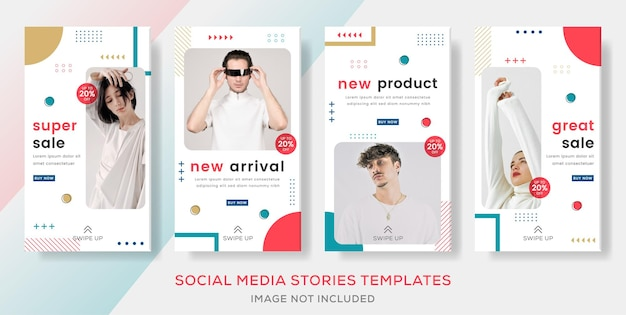 Fashion sale banner template stories for social media