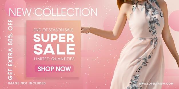 Fashion sale banner template vector design