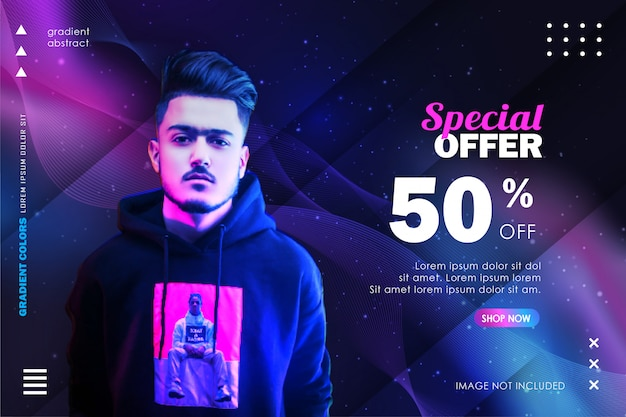 Fashion sale banner template with modern abstract gradient design