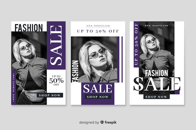 Fashion sale banner with photo