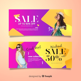 Fashion sale banners with photo