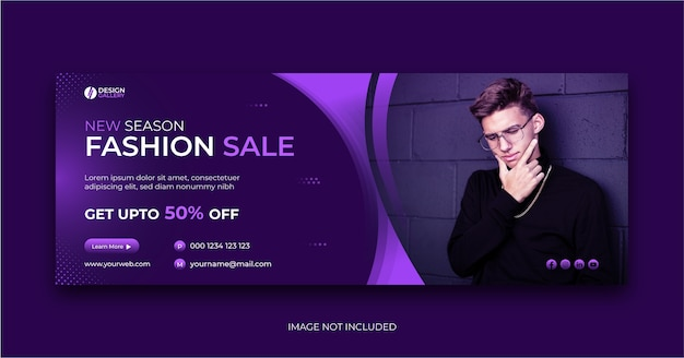 Fashion sale cover banner design social media template