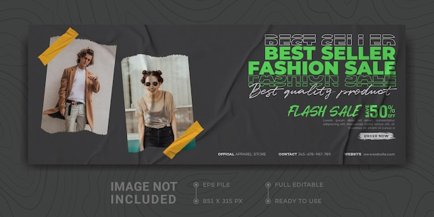 Мода продажа facebook обложка баннер шаблон продвижение бизнеса цифровой маркетинг дизайн уличной одежды