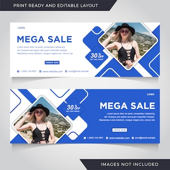 Fashion sale facebook cover banner template.