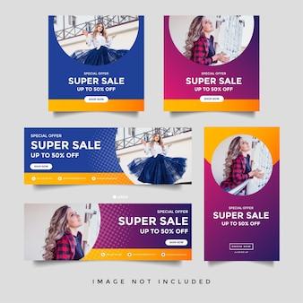 ファッションセールフェイスブックカバーソーシャルメディアとインスタグラムストーリーバナーテンプレート