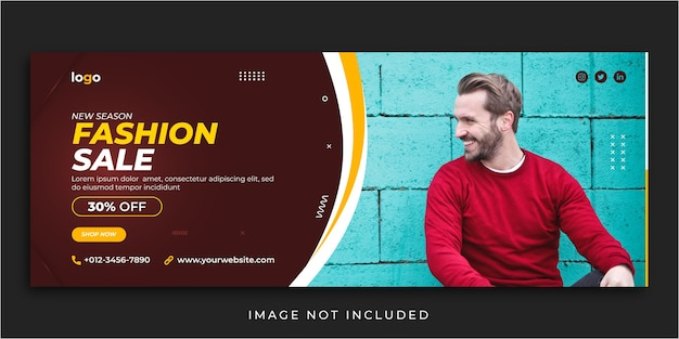 Fashion sale facebook cover social media post banner template