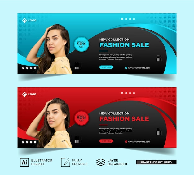 Fashion sale facebook cover & web banner template