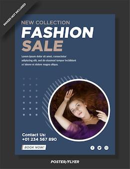 Флаер о продаже модной одежды и сообщение в социальных сетях