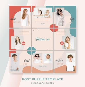 Instagramフィードパズルバナーテンプレートのファッションセール