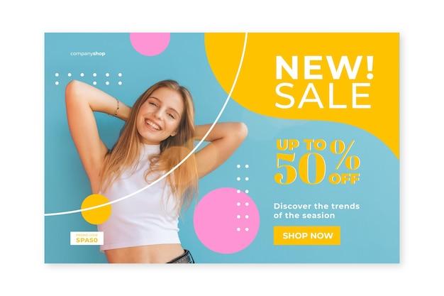 Modello di home page di vendita di moda con foto