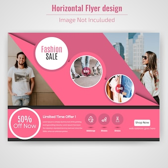 Fashion sale horizontal banner design