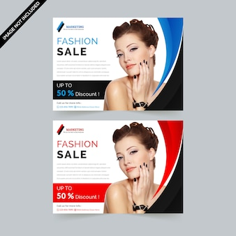 Fashion sale horizontal flyer premium vector