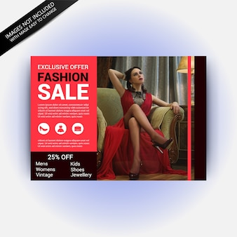 Мода продажа горизонтальный шаблон