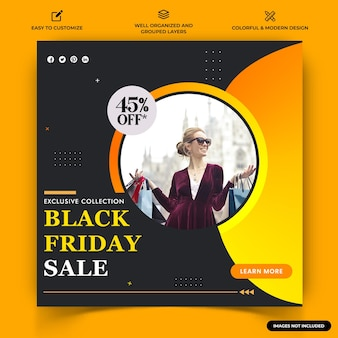 Fashion sale instagram post web banner template vector premium векторы