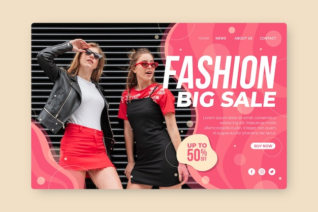 Fashion sale landing page template Free Vector