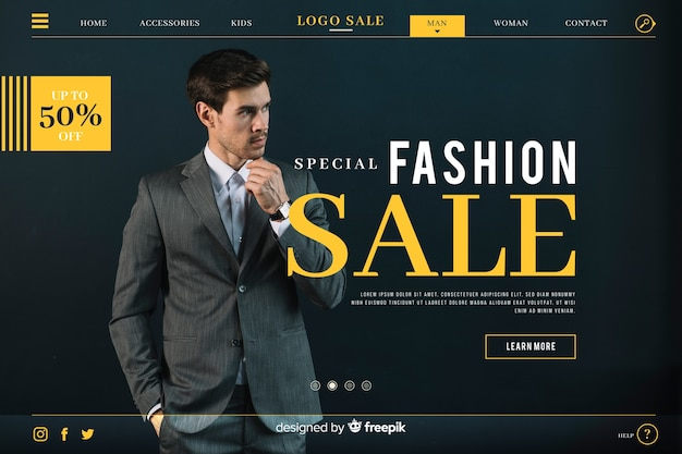 Fashion sale landing page with photo