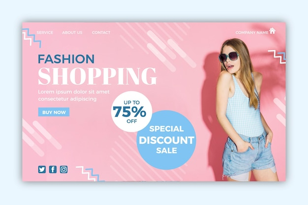 Fashion sale landing page with picture