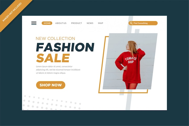 Fashion sale landing pages vector design