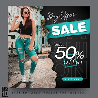 Fashion sale modern social media post template