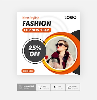Fashion sale offer post design template creative product sale post colorful layout