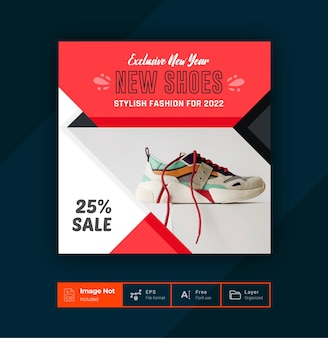 Fashion sale offer post design template shoes sale post colorful layout