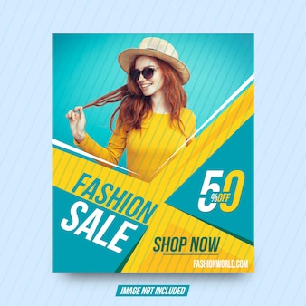 Fashion sale shopping square banner template design