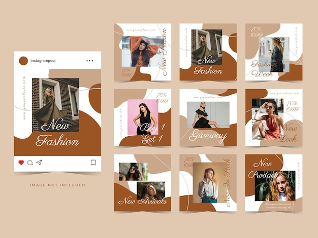 ポストプロモーションのためのファッション販売ソーシャルメディア広告テンプレートバナー。