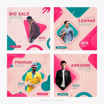 Fashion sale social media banner ad post template