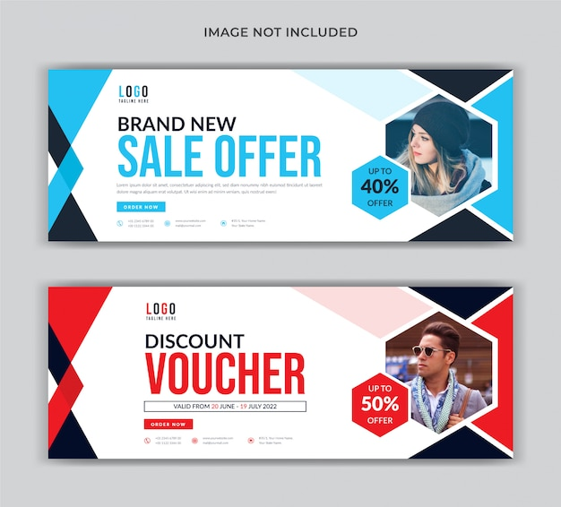 Fashion sale social media cover banner template and voucher