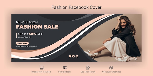 Fashion sale social media and facebook cover banner template