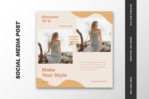 ファッションセールソーシャルメディア投稿正方形バナーテンプレート