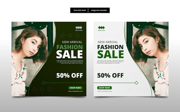 Fashion sale social media post template design.